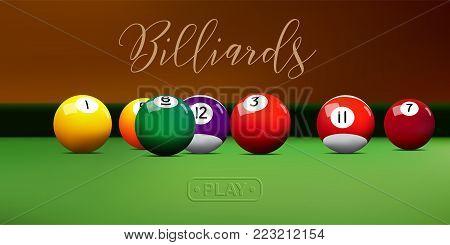 Billiard balls on green table. Vector billiard illustration