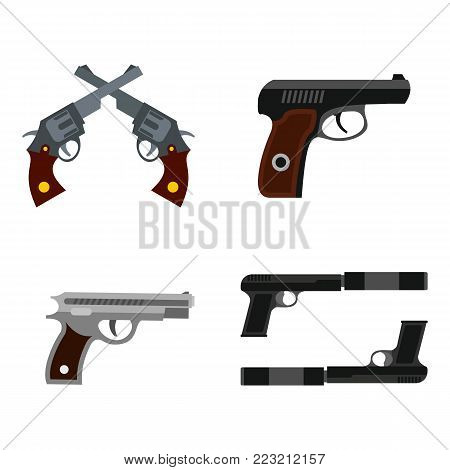 Pistol icon set. Flat set of pistol vector icons for web design isolated on white background