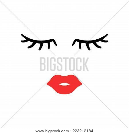 Woman Face. Beauty Concept. Eyelashes And Lips. Make Up. Vector