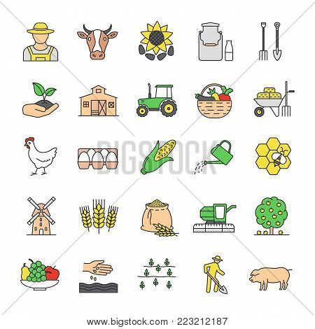 Agriculture color icons set. Farming. Agricultural implement. Isolated vector illustrations