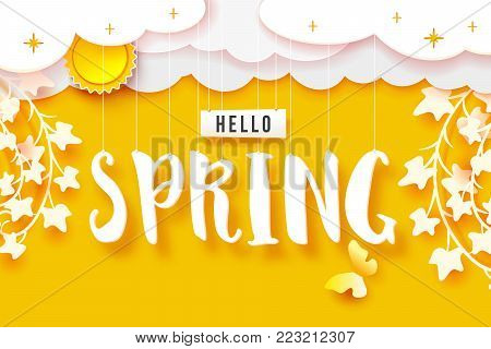 Hello spring banner. White paper clouds and twigs with leaves on bright yellow background. Cut out paper art. Sun, clouds on sky. Vector illustration