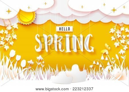 Spring flowering meadow. White flowers carved from white paper on a yellow background. Cut out of paper. Sun, clouds on sky and Hello text. Vector illustration banner