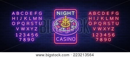 Night casino logo in neon style. Roulette Neon sign, luminous banner, night billboard, bright advertisement of casinos, gaming machines and gambling. Vector illustration. Editing text neon sign.