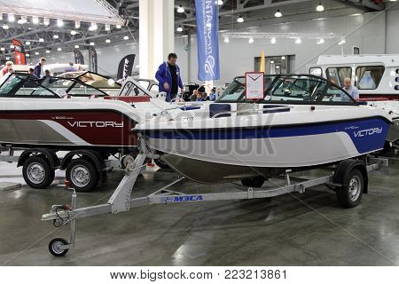 MOSCOW - MARCH 09, 2017: Yachts Victory for 10 International boat show in Moscow. Russia.