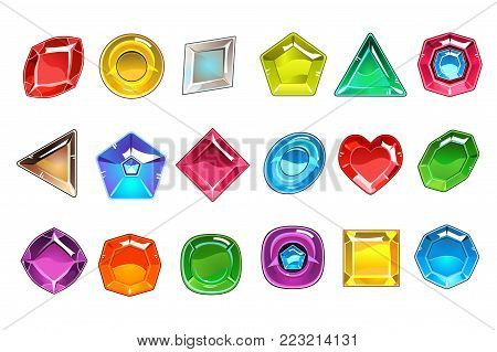 Big collection of colorful valuable stones in different shapes. Square, round, pear shaped, triangular, rhombus and heart. Bright gemstones icons. Flat vector illustration isolated on white background