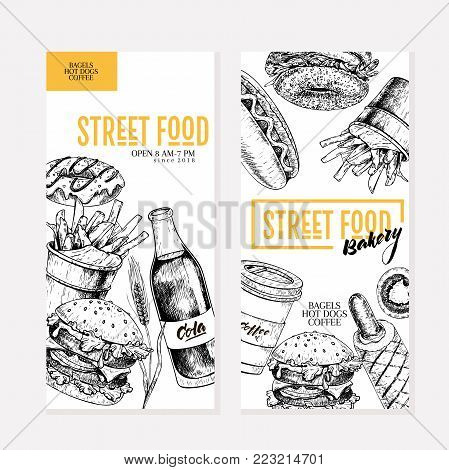 Hand drawn fast food flyers. Street food creative banner.Burger, soda, fries, bagel, donut, hot dogs. engraved vector illustration. For restaurant, menu street food advertisement poster
