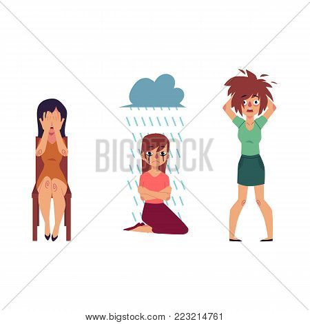 vector flat mental illness set. Woman with depression sitting at knees feel rain above girl with mental anxiety problem holding disheveled hair, female character cryig at chair. Isolated illustration