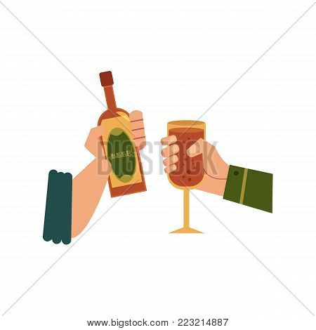 vector cartoon man hands holding glass bottle of golden lager cool beer and glass of wine, champagne or alcohol drink toasting. Ready for your design isolated illustration on a white background.