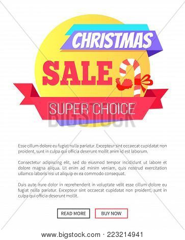 Super choice Christmas sale card with striped lollipop with red bow on it, pattern of cock, text sample isolated on white background push-buttons