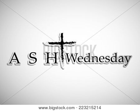 illustration of Cross with Ash Wednesday text on the occasion of Ash Wednesday