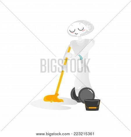 Wheeled robot assistant washing floor with a mop, doing housework, artificial intelligence concept, flat cartoon vector illustration isolated on white background. Funny robot character washing floor