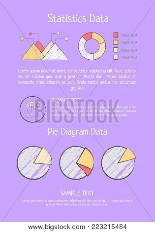 Statistics data analysis with bar and pie charts representing correlations and statistics. Vector illustration with information visualization on purple
