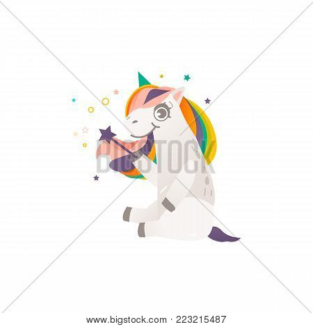 Funny unicorn character with rainbow mane sitting with a magic wand, flat cartoon vector illustration isolated on white background. Full length portrait of sitting unicorn character with magic wand