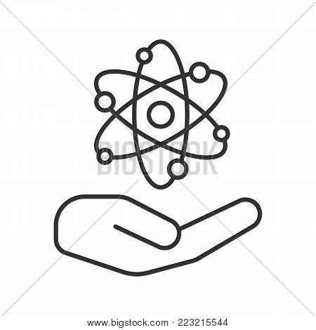 Open with atomic power sign linear icon. Thin line illustration. Atomic energy using. Contour symbol. Safe nuclear power. Vector isolated outline drawing