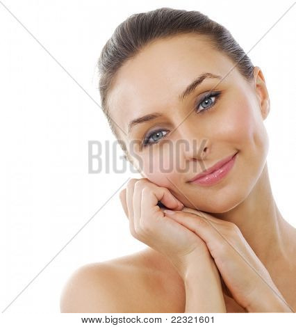 Beautiful Healthy Woman touching her skin