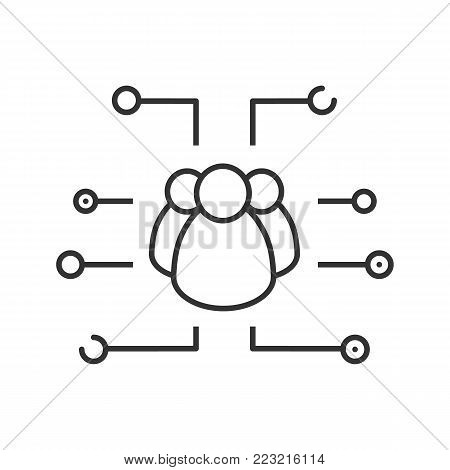 Social networks linear icon. Thin line illustration. User group. Online communication. Contour symbol. Vector isolated outline drawing