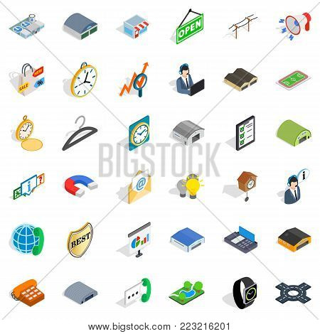 Procurement icons set. Isometric set of 36 procurement vector icons for web isolated on white background