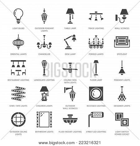 Light fixture, lamps flat glyph icons. Home and outdoor lighting equipment - chandelier, wall sconce, bulb, power socket. Vector illustration, signs for electric, interior store. Pixel perfect 64x64.