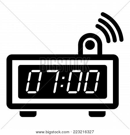 Electronic alarm clock icon. Simple illustration of electronic alarm clock vector icon for web