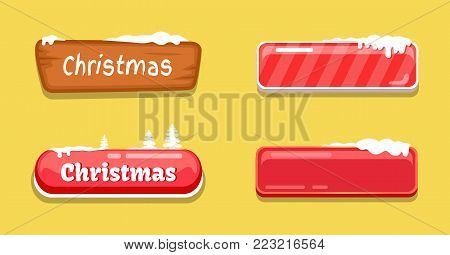 Christmas glossy web push buttons covered by snow, empty and with text, decorated by spruce trees vector online shopping signs isolated on orange icons