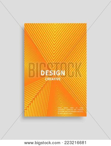 Creative design cover with motion lines, futuristic backdrop with place for text sample, vector orange brochure triangular line effects in flat style