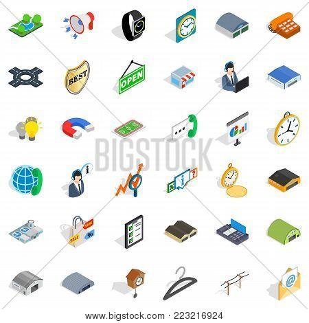 Purchasing activity icons set. Isometric set of 36 purchasing activity vector icons for web isolated on white background
