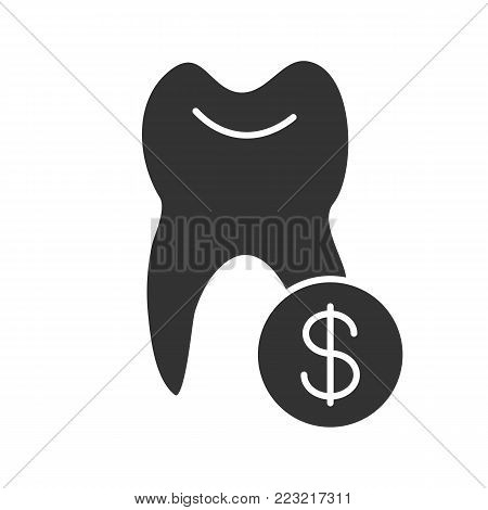 Tooth with dollar sign glyph icon. Silhouette symbol. Dentistry cost. Negative space. Vector isolated illustration