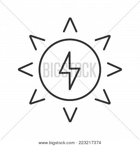 Solar energy linear icon. Sun with lightning inside. Thin line illustration. Eco energy. Contour symbol. Vector isolated outline drawing