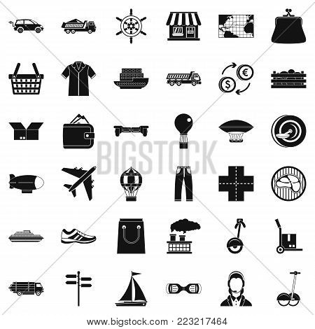 Operator of delivery icons set. Simple style of 36 operator of delivery vector icons for web isolated on white background