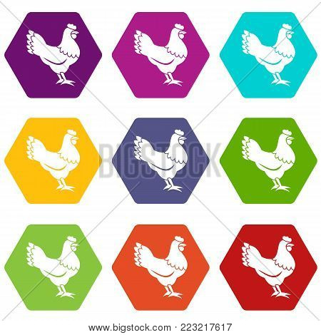 Hen icon set many color hexahedron isolated on white vector illustration