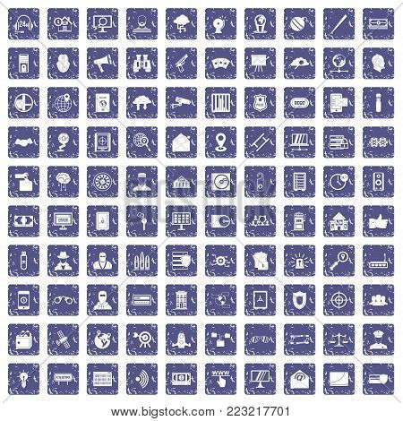 100 security icons set in grunge style sapphire color isolated on white background vector illustration