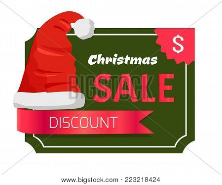 Christmas sale promo label with Santa Claus hat, dollar sign in corner, green rectangle on backdrop, advertisement badge with red winter headwear icon