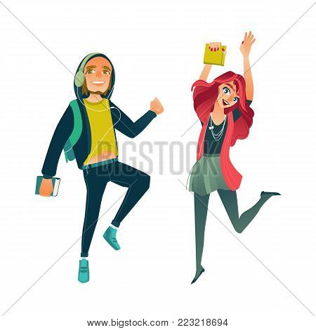 Vector cartoon young happy teen student girl, man in headphones jumping with books, University college cute female, male characters in modern casual outfit jeans colored hair. Isolated illustration