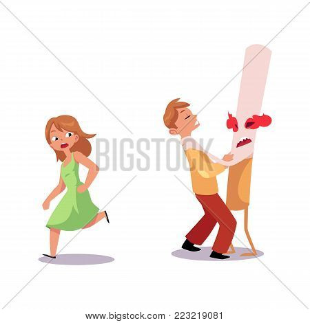 Vector flat huge evil cigarette monster character with burning eyes, legs and arms strangling male teen, girl in dress running away nicotine addiction tobacco smoking risk, threat concept illustration