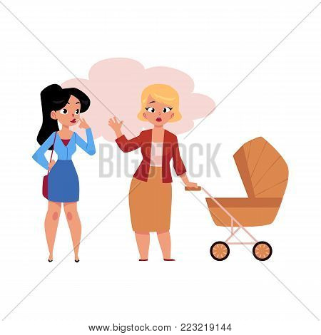 Vector flat girl in office clothing smoking near annoyed mother with baby stroller. Female caucasian characters smoker nicotine addiction passive tobacco smoking risk concept. Isolated illustration