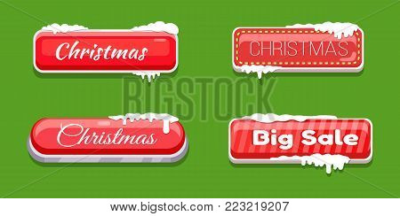 Christmas big sale glossy web push button covered with snow vector illustration online shopping signs isolated on green website label, download symbols