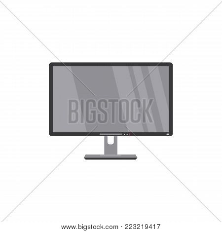 Modern LCD, widescreen, TV set, television, HDTV, household appliance, flat style vector illustration isolated on white background. Flat style front view picture of black LCD television, TV set