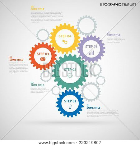 Abstract Info graphic with design colored flat gear wheels template vector eps 10