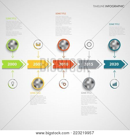 Time line info graphic with color arrows and round pointers vector eps 10