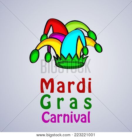 illustration of hat with Mardi Gras Carnival text on the occasion of Mardi Gras Carnival
