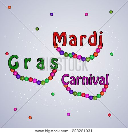 illustration of Necklace with Mardi Gras Carnival text on the occasion of Mardi Gras Carnival