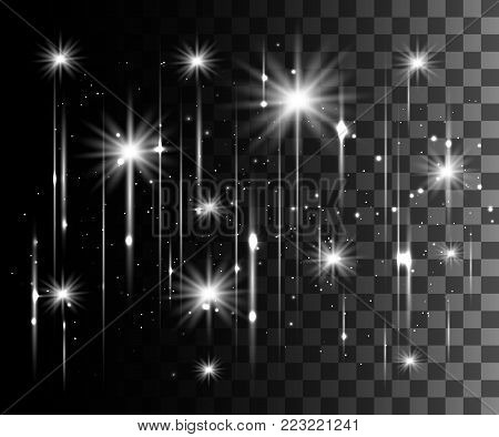 Glow isolated white transparent effect, lens flare, explosion, glitter, line, sun flash, spark and stars. For illustration template art design, banner for Christmas celebrate, magic flash energy ray.