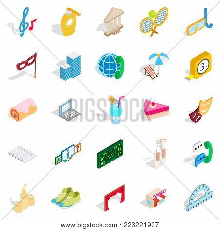 Entertainment for everyone icons set. Isometric set of 25 entertainment for everyone vector icons for web isolated on white background