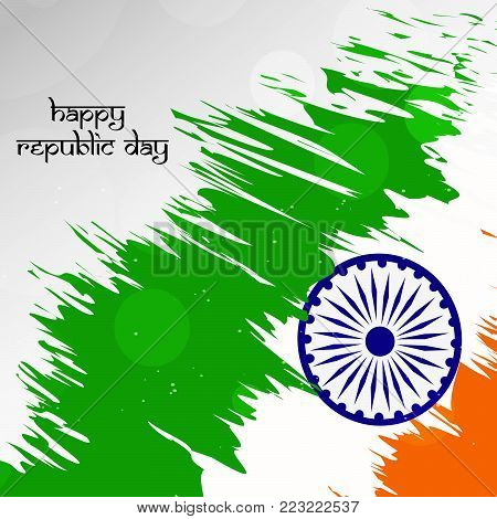 illustration of Indian flag background with Happy republic day text on the occasion of Indian Republic day