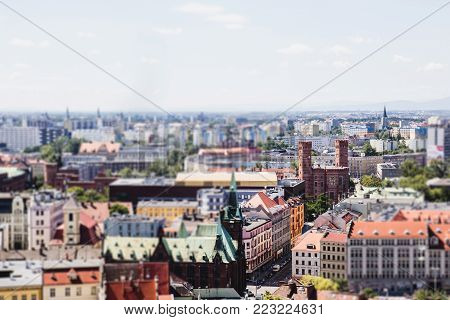 Panorama of Wroclaw city, tilt-shift effect, spring, summer