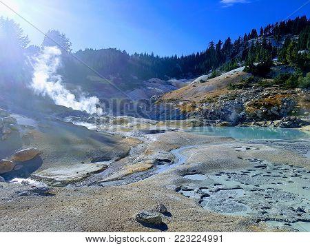 Volcanic activity area in Lassen national park California