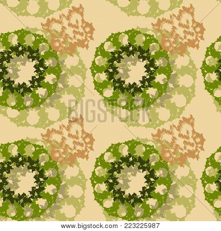An unusual seamless pattern in the form of green and brown figures on a beige background. Colorful seamless pattern can be used as print for clothing and background and backdrop or computer wallpaper