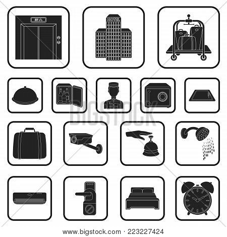 Hotel and equipment black icons in set collection for design. Hotel and comfort vector symbol stock  illustration.