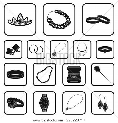 Jewelry and accessories black icons in set collection for design.Decoration vector symbol stock  illustration.
