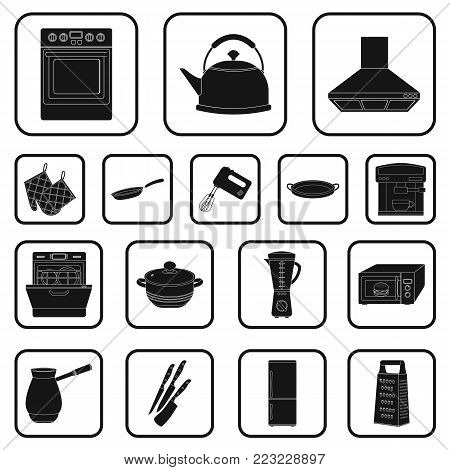 Kitchen equipment black icons in set collection for design. Kitchen and accessories vector symbol stock  illustration.